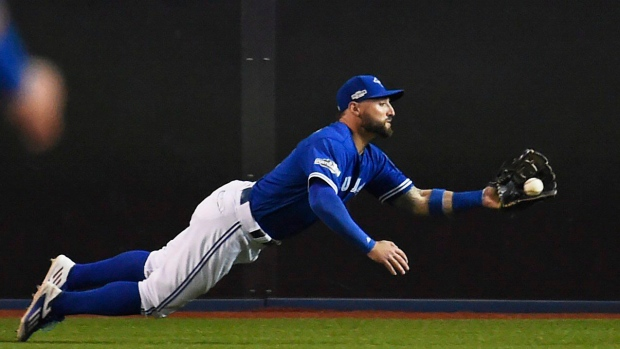 d965b9f62 Toronto Blue Jays  Kevin Pillar makes a diving catch against the Baltimore  Orioles during fourth inning American League wild-card game action in  Toronto
