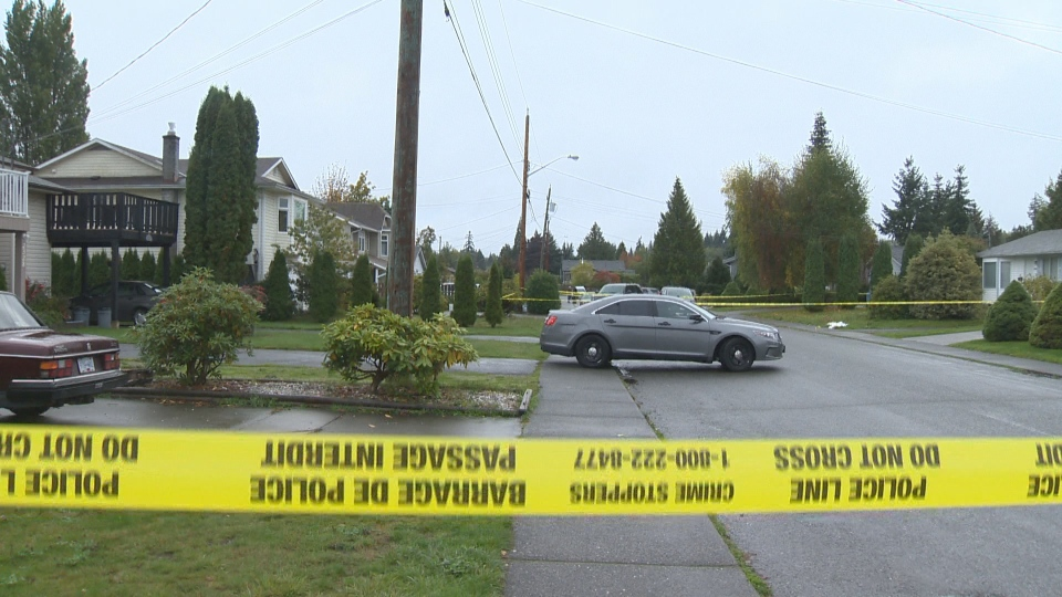 Police investigate an early morning double homicide in a Courtenay neighbourhood Wed., Oct. 5, 2016. (CTV Vancouver Island)