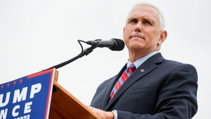 Republican vice-presidential nominee Indiana Gov. Mike Pence speaks at a rally on the Rockingham County Fairgrounds Wednesday, Oct. 5, 2016, in Harrisonburg, Va. (Nikki Fox/Daily News-Record via AP)