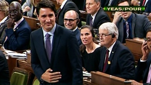 Prime Minister Justin Trudeau rises in the House of Commons to vote on the ratification of the Paris agreement on climate change on Wednesday, Oct. 5, 2016.
