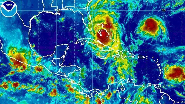 Hurricane Matthew churns as it nears Florida in the NOAA enhanced satellite image on Thursday, Oct. 6, 2016.