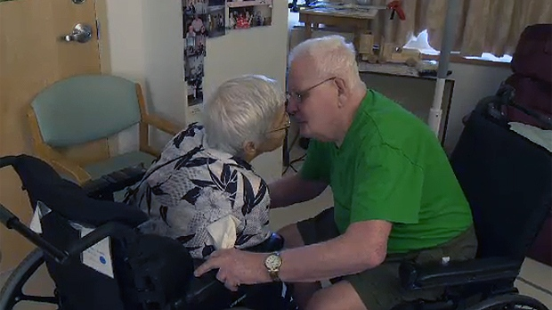 Jeanne D'Arc Desbiens is reunited with her husband of 43 years, Rosaire Gaston-Ouellette.