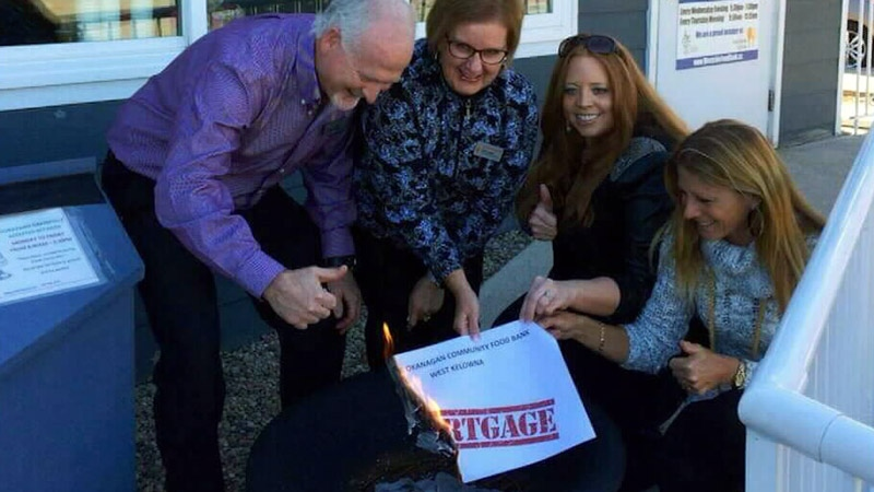 The West Kelowna food bank celebrated the donation with a mortgage burning ceremony.