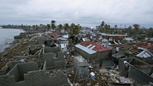 Homes destroyed by Hurricane Matthew in Haiti