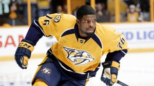 Nashville Predators defenceman P.K. Subban warms up before an NHL hockey preseason game against the Tampa Bay Lightning, in Nashville, Tenn. on Oct. 1, 2016. (AP Photo/Mark Humphrey, File)
