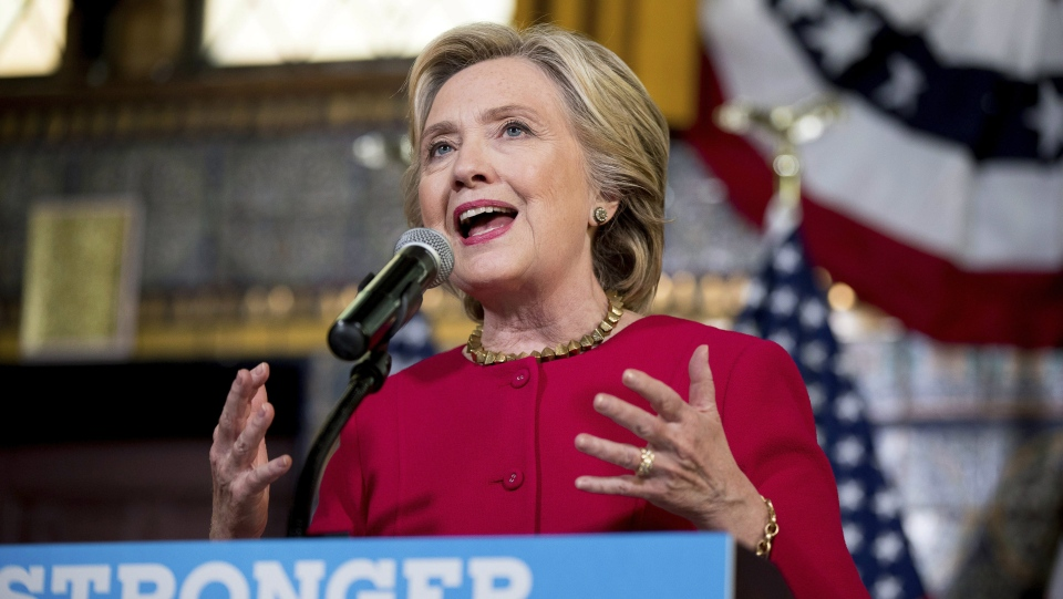 In this Oct. 4, 2016 file photo, Democratic presidential candidate Hillary Clinton speaks in Harrisburg, Pa. (AP / Andrew Harnik, File)