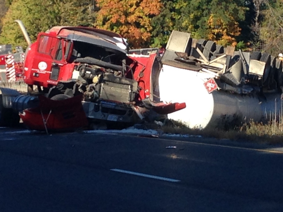 One person has died in a tractor trailer rollover