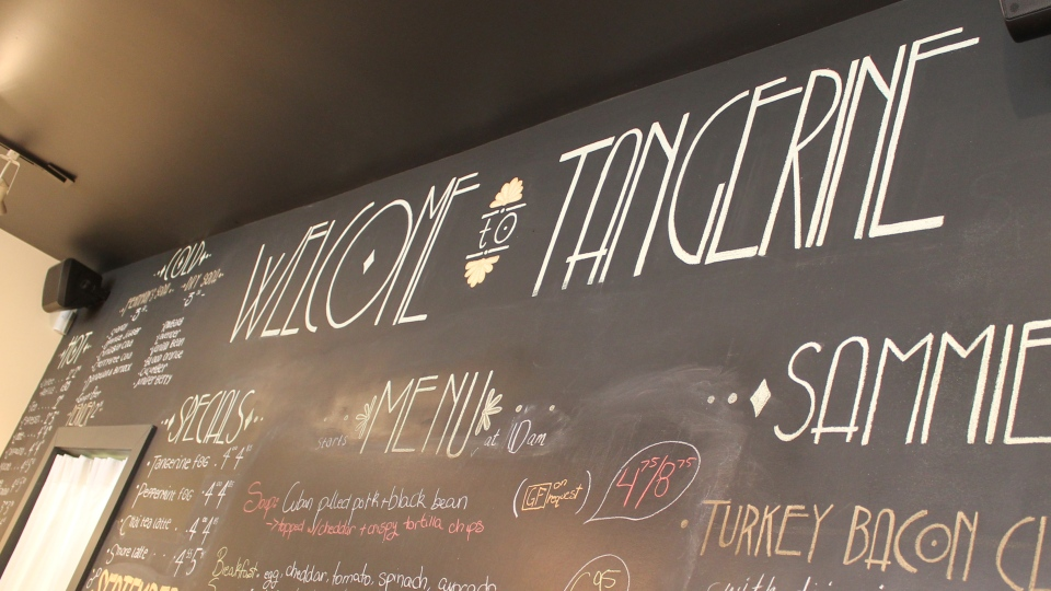 The menu sign from Tangerine is shown.