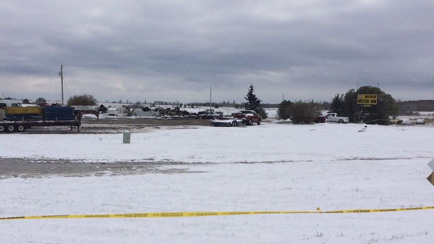 Investigators find body in ruins of alberta motel that for Rocky waters motor inn fire damage