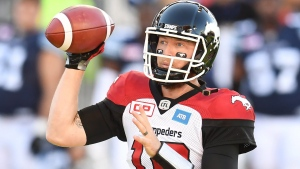Calgary Stampeders' quarterback Bo Levi Mitchell fires a pass against the Toronto Argonauts during first half CFL action in Toronto, on Monday, Oct. 10, 2016. (THE CANADIAN PRESS/Frank Gunn)