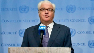 In this Oct. 6, 2016, photo, Russian UN Ambassador Vitaly Churkin speaks at UN headquarters. (AP Photo/Bebeto Matthews)
