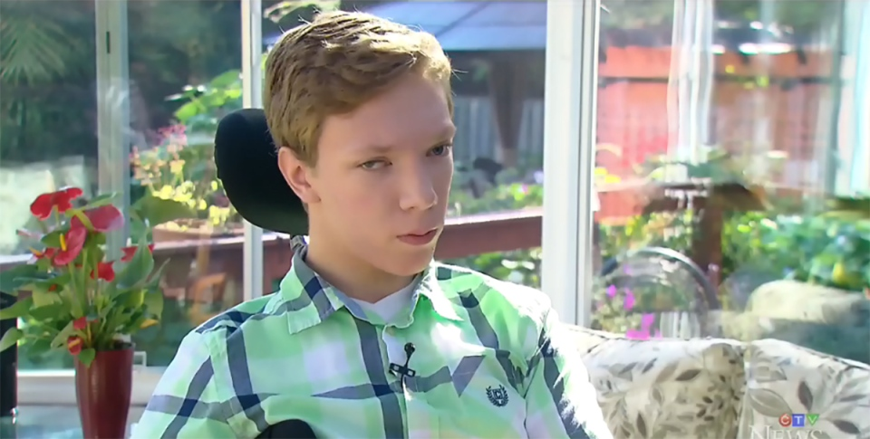 Wesley Magee-Saxton, 16, was shocked by the results of a survey which found that 45 per cent of Canadians believe kids with disabilities lead less fulfilling lives.