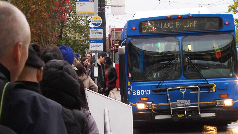 A 99 UBC B-line bus is seen in this file photo.