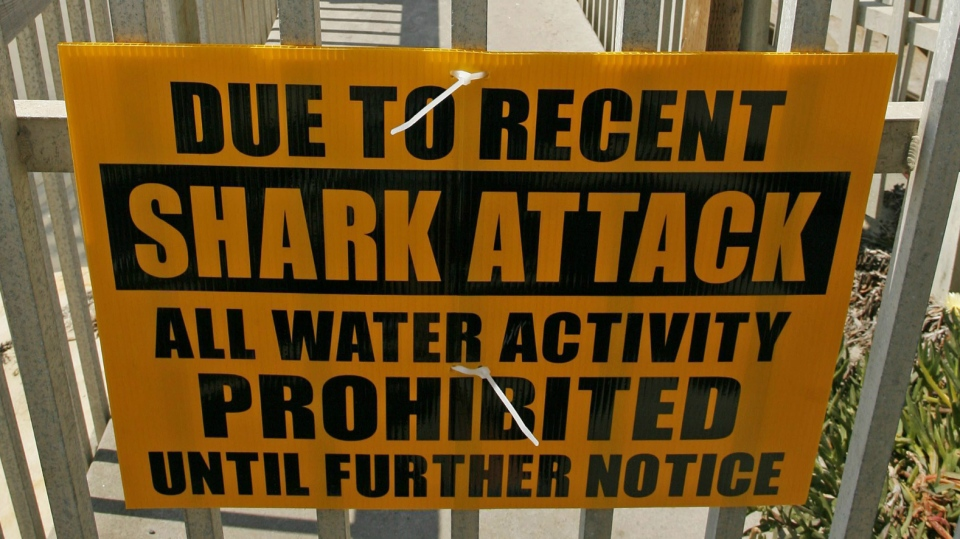A sign on a locked gate prohibiting water activity sits above Tide Beach after a shark attack in Solana Beach, Calif. on Friday, April 25, 2008. (AP / Denis Poroy)