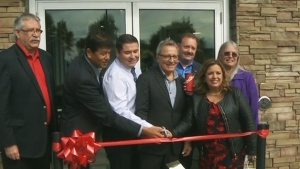 Six Nations community members attend the grand opening of a Tim Hortons near Brantford, Ont., on Oct. 11, 2016.