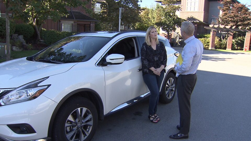 Desiree Cairns has owned her 2015 Nissan Murano for less than a year, but she says the airbag warning light keeps coming on while she's in the front passenger seat. (CTV)