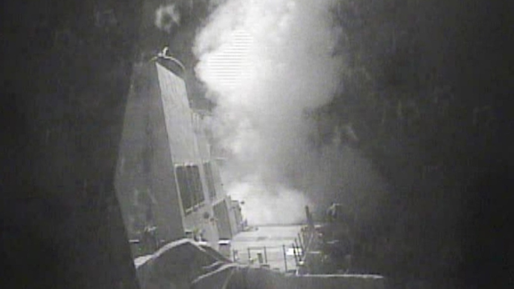 USS Nitze launches a strike