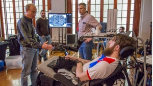 Nathan Copeland was in a car accident that left him paralyzed from the upper chest down but with the help of an experimental brain implant he has regained the sense of touch. Credit: UPMC/Pitt Health Sciences