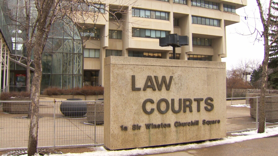 A sign outside an Edmonton courthouse is seen here.