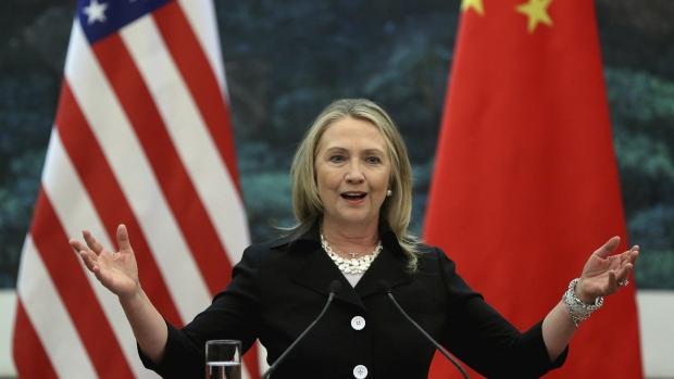 Hillary Clinton speaking in Beijing