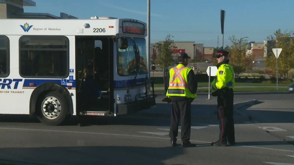 A woman was hit by a Grand River Transit bus on Ira Needles Boulevard in Kitchener on Friday, Oct. 14, 2016.