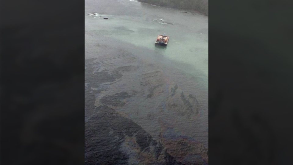 A tug pushing a fuel barge ran aground and sank in the waters off the Great Bear Rainforest Thursday, Oct. 13, 2016.