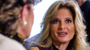 Summer Zervos, right, speaks alongside her attorney Gloria Allred during a news conference in Los Angeles, Friday, Oct. 14, 2016. (AP Photo/Ringo H.W. Chiu)