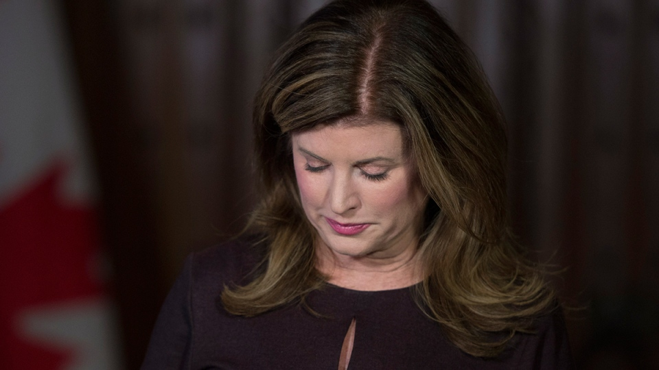 Opposition leader Rona Ambrose pauses as she makes a brief statement following the death of former Conservative MP and Alberta Premier Jim Prentice Friday, Oct. 14, 2016, on Parliament Hill in Ottawa. (Adrian Wyld / THE CANADIAN PRESS)