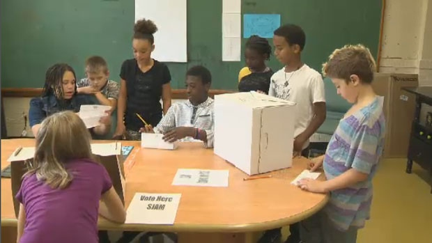 On Friday, students at Saint Joseph's-Alexander McKay elementary school in Halifax participated in a voting exercise.