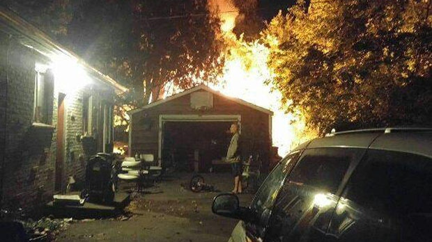 Shed on Myers Road in Cambridge was set on fire during the early morning hours of Oct. 15th, 2016.