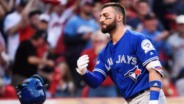 Toronto Blue Jays centre fielder Kevin Pillar (11) reacts after striking out against Cleveland Indians relief pitcher Andrew Miller (24) during seventh inning, game two American League Championship Series baseball action in Cleveland on Saturday, October 15, 2016. THE CANADIAN PRESS/Nathan Denette