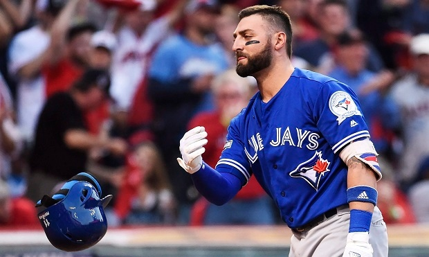 Toronto Blue Jays centre fielder Kevin Pillar (11) reacts after striking out against Cleveland Indians relief pitcher Andrew Miller (24) during seventh inning, game two American League Championship Series baseball action in Cleveland on Saturday, October 15, 2016. (THE CANADIAN PRESS/Nathan Denette)