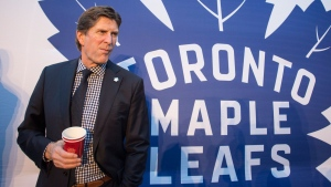 Mike Babcock Head Coach of Toronto Maple Leafs is pictured before an unveiling ceremony of statues to celebrate former Toronto Maple Leaf players, in Toronto's Maple Leaf Square on Thursday October 13, 2016. THE CANADIAN PRESS/Chris Young