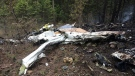 Wreckage of a Cessna Citation following an October 13, 2016 crash north of Kelowna, B.C. (Transportation Safety Board of Canada)