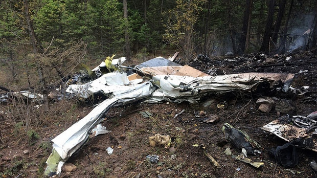 Wreckage of a Cessna Citation following an October 13, 2016 crash north of Kelowna, B.C. (Transportation Safety Board of Canada)