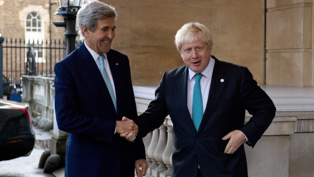 Image result for John Kerry meets Boris Johnson and Saudi foreign minister in London
