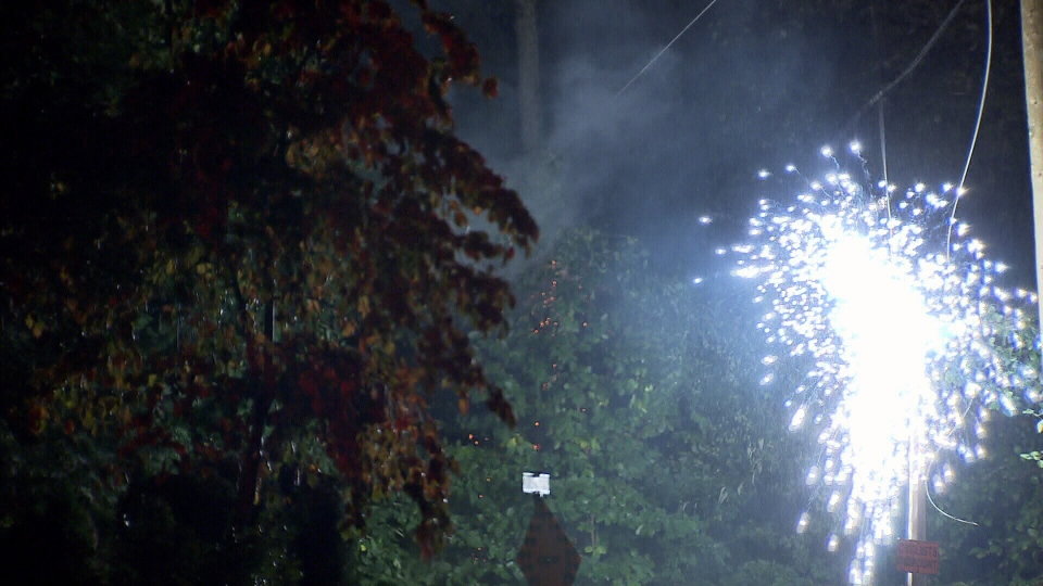 Saturday night's storm blew a transformer near the Pollock household in North Vancouver. (CTV)