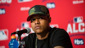 Toronto Blue Jays pitcher Marcus Stroman attends a news conference in Toronto on Sunday, October 16, 2016. (THE CANADIAN PRESS/Christopher Katsarov)