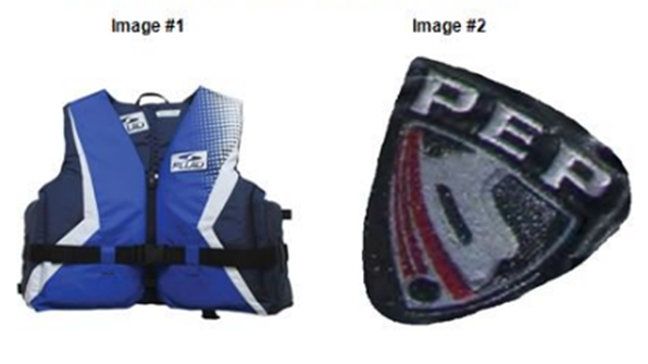 OPP photos of a life-jacket and pant logo.