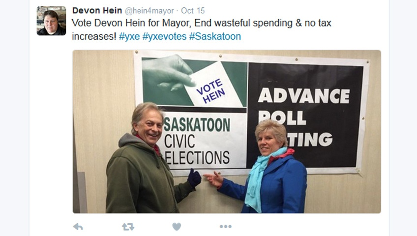 "Saskatoon mayoral candidate Devon Hein tweeted this photo, taken from advanced voters Kent and Kathy Allen, on Saturday. He altered the poster in the photo to read, ""Vote Hein."" (Twitter/@hein4mayor)"