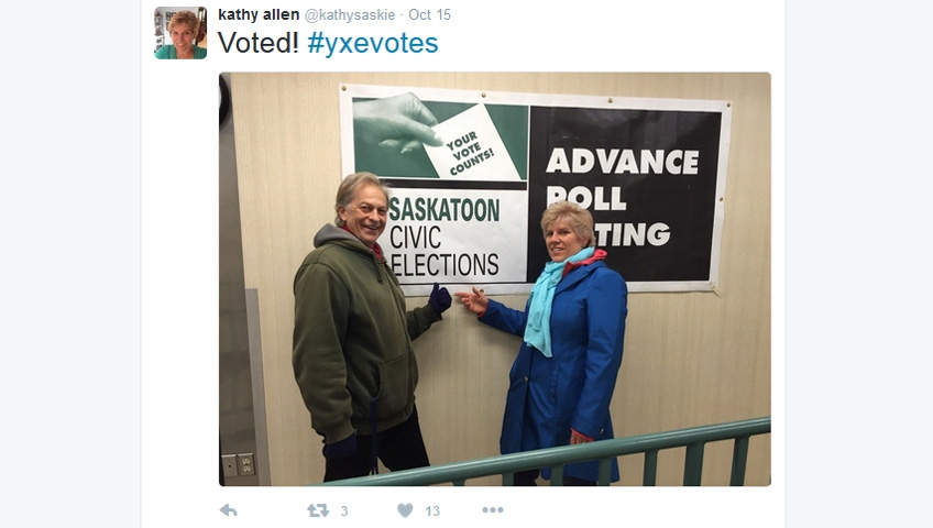Kathy Allen tweeted this photo, which was later taken and altered by candidate Devon Hein, of her and her husband after voting in the Saskatoon election advance polls. (Twitter/@kathysaskie)