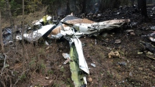 A wing is pictured amongst the wreckage of a Cessna Citation which crashed on October 13, 2016, seen in the woods near Lake Country, B.C. in this Transportation Safety Board handout image released on October 15, 2016. (HO-TSB / THE CANADIAN PRESS)