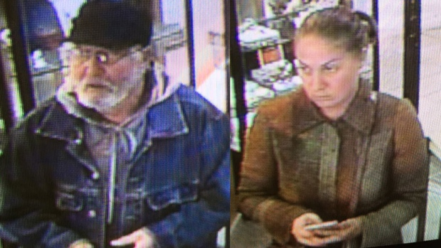 Police in Charlottetown are looking for two people suspected of stealing two diamonds from a jewelry story last Wednesday. (Charlottetown Police Services)
