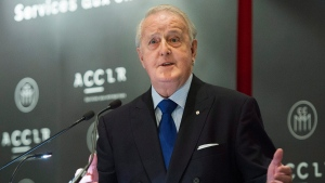 Former Prime Minister Brian Mulroney speaks during a round table discussion on international economic issues in Montreal, Tuesday, October 18, 2016. (Graham Hughes/The Canadian Press)