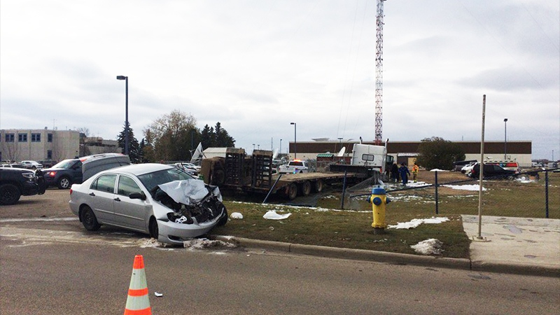 EPS on the scene of a collision involving a stolen semi on 184 St. at Stony Plain Rd., the semi struck a cable on a transmission line on the CTV Edmonton property.