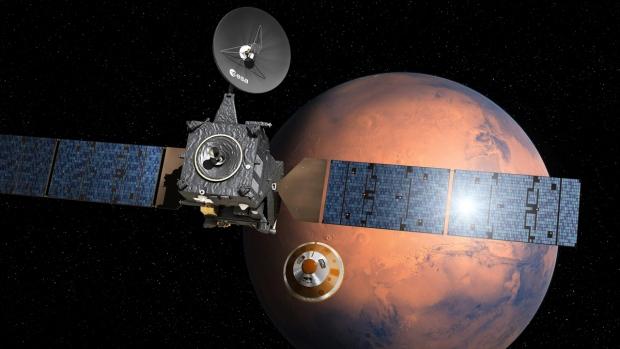ExoMars 2016 lander Schiaparelli separating