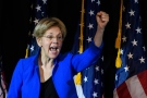 In this photo taken Oct. 14, 2016, Sen. Elizabeth Warren, D-Mass. speaks at a rally for Missouri Democratic Senate candidate, Secretary of State Jason Kander, in Kansas City, Mo. (AP Photo/Reed Hoffmann)