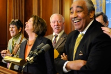 U.S. House Speaker Nancy Pelosi, Rep. Rosa DeLauro, Rep. James Oberstar, and Rep. Charles Rangel announce the house passed the stimulus legislation, during a news conference on Capitol Hill in Washington, on Friday, Feb. 13, 2009. (AP / Susan Walsh)