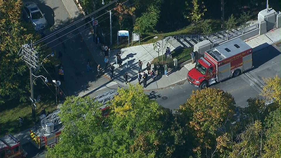Emergency crews are shown on scene following the evacuation of a subway train between Dupont and St. Clair West stations.