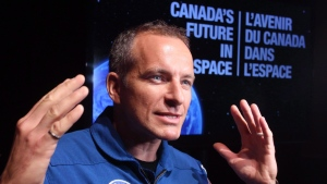 Canadian astronaut David Saint-Jacques speaks to reporters during a news conference in Ottawa Tuesday June 2, 2015. (Fred Chartrand/The Canadian Press)
